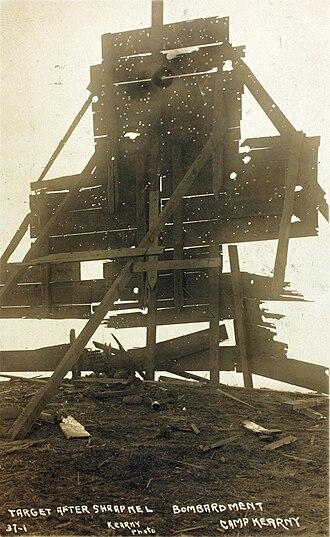 Camp Kearny - Target at Camp Kearny after bombardment by shrapnel; World War I era