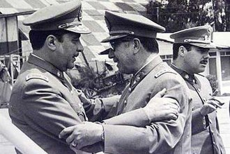Caravan of Death - Generals Sergio Arellano Stark and Augusto Pinochet a few hours before the departure of the Caravan of Death (September 1973)