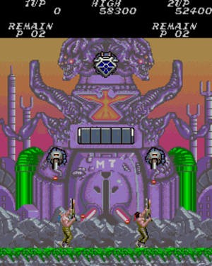 Contra (video game) - Bill and Lance reach the entrance of the second enemy base.