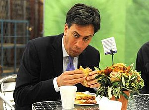 Ed Miliband bacon sandwich photograph - This photograph of former Labour Party leader Ed Miliband eating a bacon sandwich became an Internet meme.