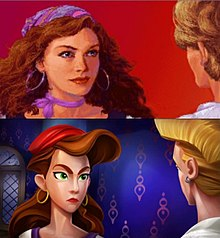 The top half of the image depicts a woman with red hair, green eyes and a headscarf talking with a young man, whose face is obscured. The image is rendered in mostly realistic pixel art and is set against a non-descript red background. The bottom half depicts the same situation; however, the art style is far more stylized, drawing on cartoon elements. The background is more substantial, showing the walls and a window behind the woman.