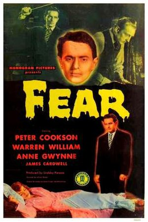 Peter Cookson - Movie poster featuring Cookson for the 1946 film Fear