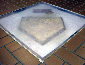 Forbes Field - Forbes Fields' home plate lies encased and on display in the lobby floor of the University of Pittsburgh's Posvar Hall.