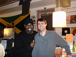 Frankie Knuckles on his 51st birthday in 2006. At DJ Hut Record Store's