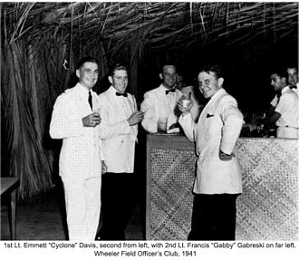 Gabby Gabreski - Second lieutenant Gabby Gabreski (left) and first lieutenant Cyclone Davis (second from left) at the Wheeler Field Officers Club, Hawaii, 1941