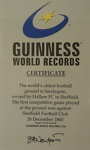 Sandygate Road - The certificate for the record of being the oldest football ground in the world