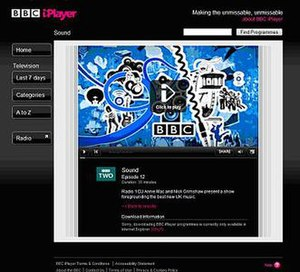 BBC iPlayer - A screenshot of the old version of BBC iPlayer streaming page for television programme, Sound