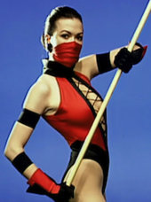 8358aad7955b Actress Becky Gable as Jade during production of Ultimate Mortal Kombat 3  (1995)