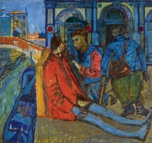 Joan Eardley - Beggars in Venice, 1949. Oil on canvas, 90.5 by 96 cm. Private collection