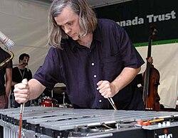 Matthias Lupri using 2 cello bows on a vibraphone with electronic pickups, Vancouver Jazz Festival 2005.Photo Chris Cameron.