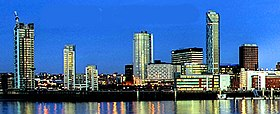 Liverpool's new business district, as seen from across the River Mersey