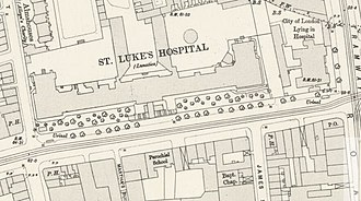 St Luke's Hospital for Lunatics -  1896 map of Old Street showing a plan of the hospital.