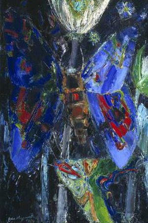 John Maxwell (artist) - Night Flowers, 1959, Tate Gallery. One of a series of four paintings on the theme of moths, butterflies and flowers.