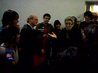 Melbourne Model - University of Melbourne Arts students speaking to Dean of Arts Faculty, Professor Belinda Probert, during a student occupation of the Philosophy building during the university's Academic Board meeting in 2007.