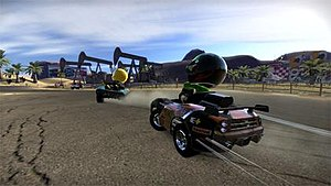 ModNation Racers - Karts drifting during a race.