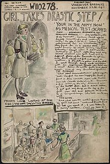 Molly Lamb enters the Army. Hand drawn page from her World War II diary. Dated: November 22, 1942.