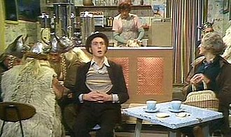 """Spam (Monty Python) - Terry Jones (behind counter), Eric Idle, Graham Chapman and the Vikings in the Monty Python sketch """"Spam"""""""