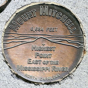 Mount Mitchell - Surveyor's mark embedded in the observation tower notes the elevation of 6684 feet above sea level