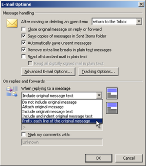 Posting style - Alternative e-mail quoting styles supported by Microsoft Outlook