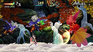 Muramasa: The Demon Blade - Player character Momohime fights enemies in a random encounter.