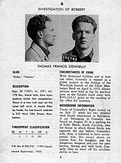 Black-and-white image of a page from a booklet of wanted criminals. There are front and side view mug shots of a man at the top of the page, and text describing crimes he committed below.