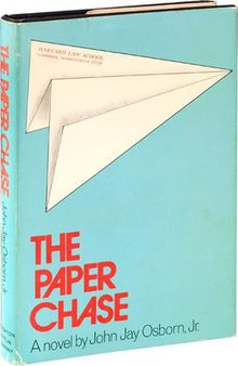 "Paper airplane with the address to Harvard Law School at green-ish blue background and above the red title ""THE PAPER CHASE""."