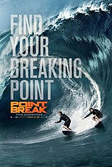 Two surfers are surfing over a big water wave ,with the film's title and credits in front of them.