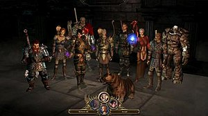Dragon Age: Origins - Dragon Age: Origins protagonists. From left to right: Oghren, Leliana, Morrigan, Sten, The Grey Warden (the player character), Mabari War Hound, Alistair, Wynne, Zevran and Shale