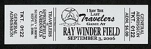 Ray Winder Field - Commemorative ticket for the Arkansas Travelers final game in Ray Winder Field.
