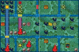 Robot Rescue - A gameplay screenshot of Robot Rescue presenting a sample labyrinth and obstacles.