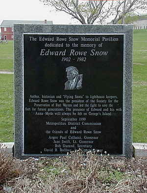 Edward Rowe Snow - Edward Rowe Snow memorial plaque on Georges Island in Boston Harbor