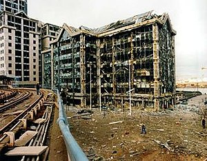 1996 Docklands bombing - Image: South Quay bombing 9.2.96