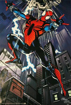Ben Reilly - Ben Reilly as Spider-Man, wearing the costume designed by Mark Bagley. Art by Dan Jurgens and Klaus Janson.