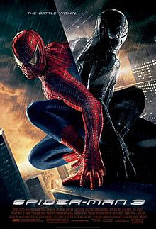 Spider-Man in the rain in his black suit looks at himself in a mirror wearing the original suit, with the film's slogan, title, release and credits