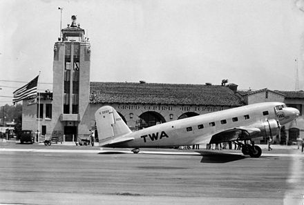 The Douglas DC-1 in front of the terminal. TWA DC-1.jpg
