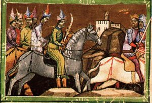 Batu Khan - Béla IV flees from Mohi, detail from Chronicon Pictum