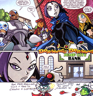 Teen Titans Go! - A typical page of Teen Titans Go!, featuring gags outside of the page margins (a story seen in a flashback from the season 2 finale). Art by Todd Nauck.