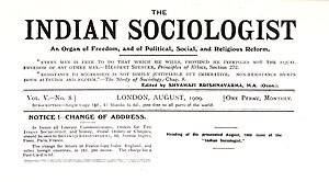 The Indian Sociologist - Banner of The Indian Sociologist, Vol V No. 8, published August 1909, for which Guy Aldred was prosecuted