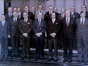 Eric Willis - Willis (4th left, front row) with his Cabinet, following their swearing in, at Government House on 23 January 1976.