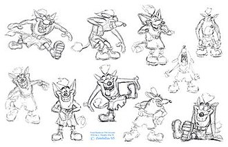 Crash Bandicoot (character) - Concept art of Willie the Wombat or Wuzzy Wombat, who would later become Crash Bandicoot. The tail was later removed due to the graphical limitations of the PlayStation.