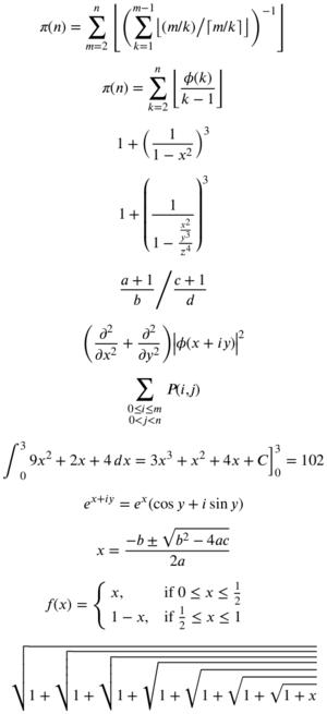 XITS font project - Specimen of XITS Math usage.