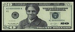 Afbeelding van een biljet van $ 20 met het gezicht van Tubman