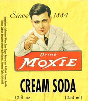 "Moxie - The original Moxie logo featuring the ""Moxie Man"" on the label of a derivative product."