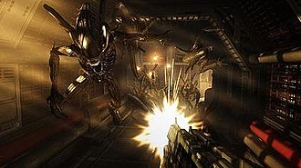 Aliens vs. Predator (2010 video game) - A screenshot showing a player being attacked by a group of Aliens