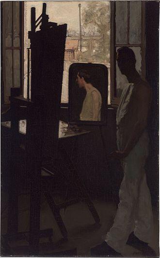 """Northwest School (art) - Ambrose Patterson - Self-portrait (""""La Fenêtre de l'atelier"""")"""