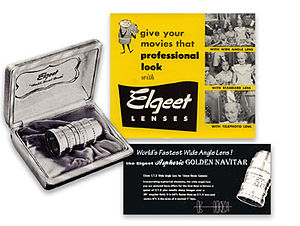 Aspheric lens - The Elgeet Golden Navitar 16mm Aspheric Wide Angle Lens shot and Advertisement from the 1950s.