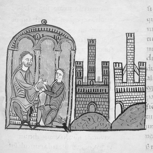 Bernard I, Count of Besalú - Bernard commending his patrimony to his son, William, in a miniature accompanying his testament in the Liber feudorum maior (folio 61r).