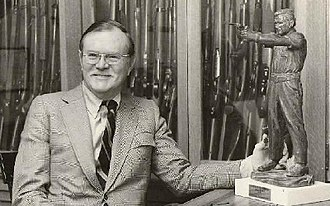 William B. Ruger - Ruger in 1975 holding that year's Outstanding American Handgunner Award