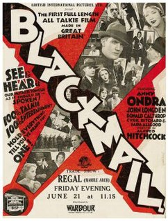 <i>Blackmail</i> (1929 film) 1929 film by Alfred Hitchcock
