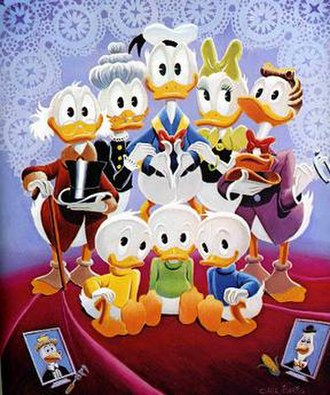 Duck family (Disney) - Lavender and Old Lace by Carl Barks; from left to right: (standing) Scrooge McDuck, Grandma Duck, Donald Duck, Daisy Duck, Gladstone Gander; (seated) Huey, Louie, and Dewey Duck; (foreground) Gyro Gearloose (unrelated) and Gus Goose